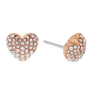 Michael Kors Rose Goldtone Stainless Steel Crystal Pave Heart Stud Earrings