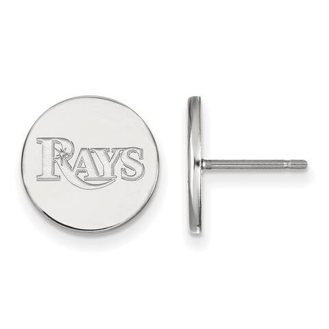 Versil Sterling Silver Rhodium-plated MLB LogoArt Tampa Bay Rays Small Disc Earrings
