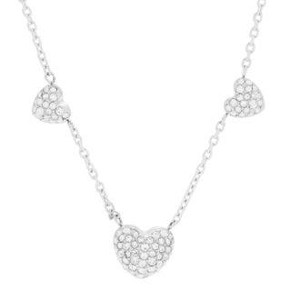 Michael Kors Stainless Steel Crystal Pave Three Heart Slider Necklace