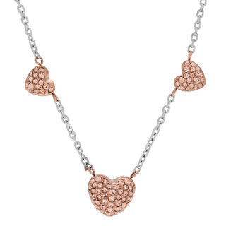 Michael Kors Rose Goldtone Stainless Steel Crystal Pave Three Heart Slider Necklace
