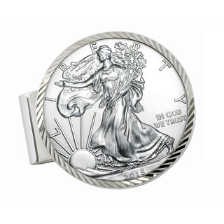 Smithsonian Institution Sterling Silver Diamond Cut Money Clip with American Silver Eagle Dollar