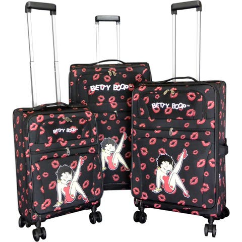 "Betty Boop Black 3-piece Expandable Spinner Luggage Set - 28"" 24"" 20"""