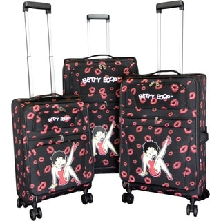 Betty Boop Black 3-piece Expandable Spinner Luggage Set