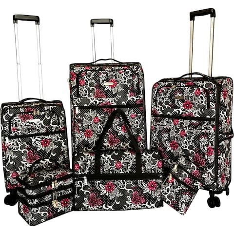 """Karriage-Mate Floral 6-piece Expandable Spinner Luggage Set - 28"""" 24"""" 20"""""""