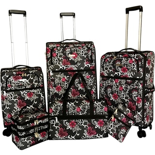 Karriage-Mate Floral 6-piece Expandable Spinner Luggage Set