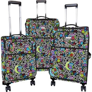 Karriage-Mate Owls Multicolor 3-piece Expandable Spinner Luggage Set