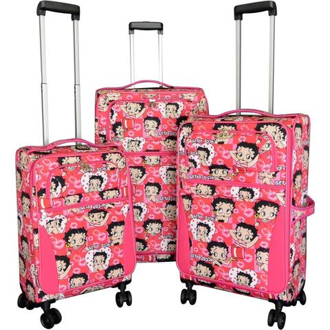 "Betty Boop Pink 3-piece Expandable Spinner Luggage Set - 28"" 24"" 20"""