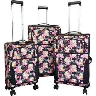 Betty Boop Multicolored 3-piece Expandable Spinner Luggage Set