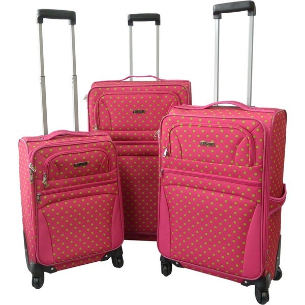 Karriage-Mate Pink/Green Polka Dot Expandable Spinner Luggage (Set ...