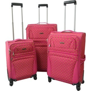 Karriage-Mate Pink/Green Polka Dot Expandable Spinner Luggage (Set of 3)