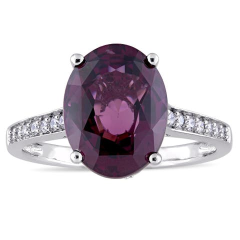 Miadora Signature Collection 14k White Gold Oval-Cut Dark Violet Spinel and 1/4ct TDW Diamond Ring ( - Purple