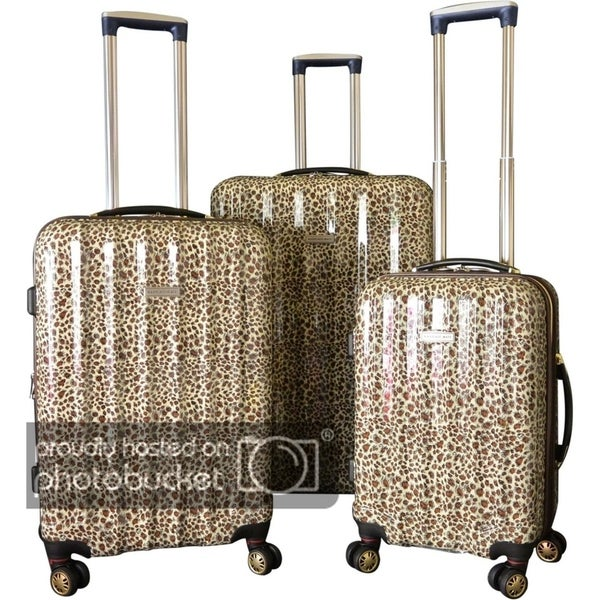 5bf732ba7 Shop Karriage-Mate Gold Leopard ABS/Polycarbonate 3-piece Hardside Spinner  Luggage Set - 28