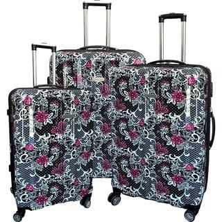 "Link to Karriage-Mate Floral Multicolor 3-piece Hardside Spinner Luggage Set - 17"" Similar Items in Luggage Sets"