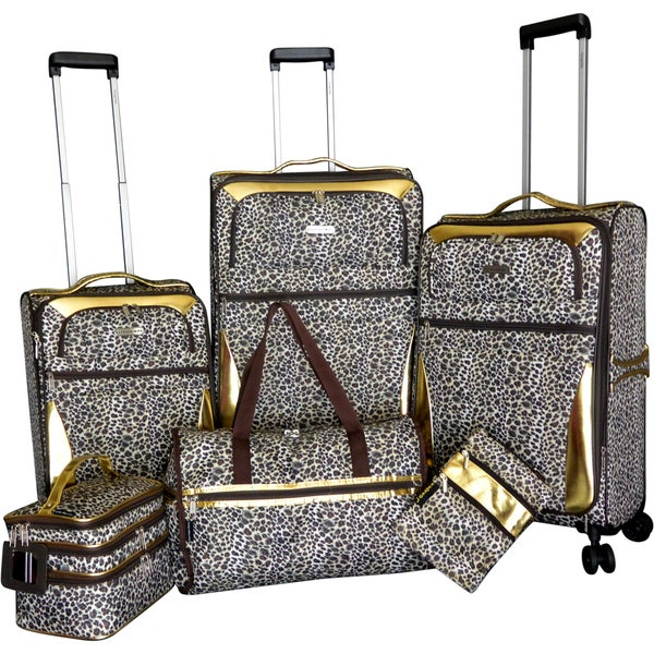 367605820 Shop Karriage-Mate Gold Leopard 6-piece Expandable Spinner Luggage Set - Free  Shipping Today - Overstock - 15199776