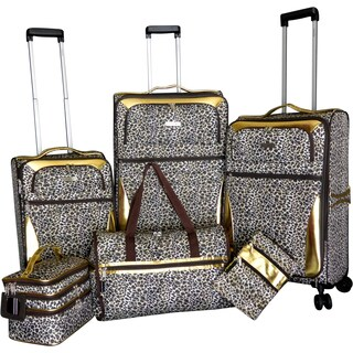 Karriage-Mate Gold Leopard 6-piece Expandable Spinner Luggage Set