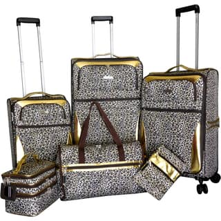 Karriage-Mate Gold Leopard 6-piece Expandable Spinner Luggage Set|https://ak1.ostkcdn.com/images/products/15199776/P21677501.jpg?impolicy=medium