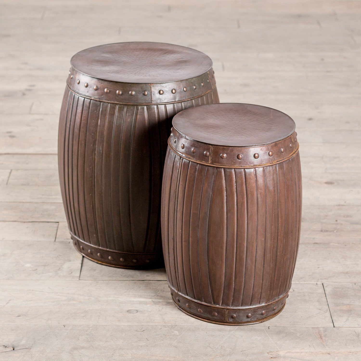 Handmade Fluted Round Barrels - Copper (Set of 2) (India) (ZZ01180)