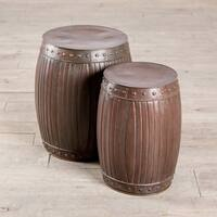 Handmade Fluted Round Barrels - Copper (Set of 2) (India)