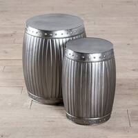 Handmade Fluted Round Barrels - Natural (Set of 2) (India)