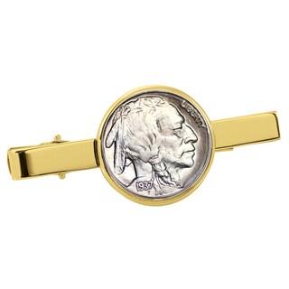 Smithsonian Institution Buffalo Nickel Goldtone Tie Clip