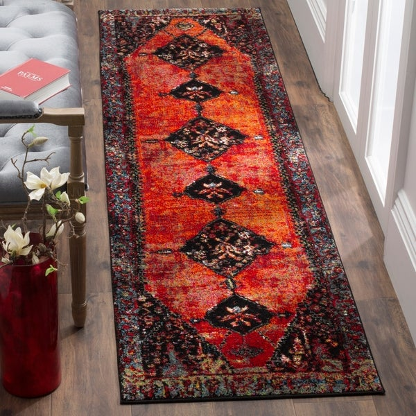 Safavieh Vintage Hamadan Traditional Orange/ Multi Distressed Runner Rug - 2' 2 x 14'