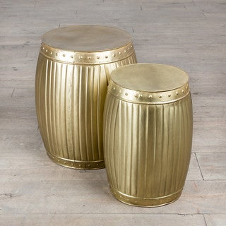 Handmade Fluted Round Barrels - Brass (Set of 2)