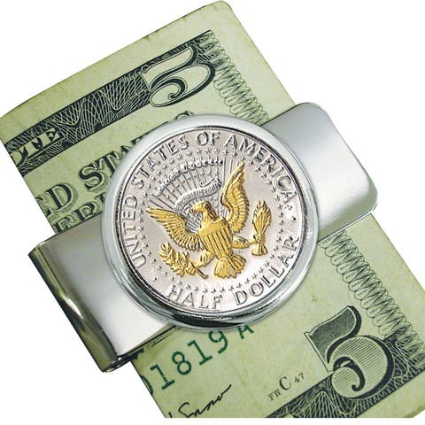 Smithsonian Institution Silvertone Presidential Seal Selectively Gold Layered Money Clip