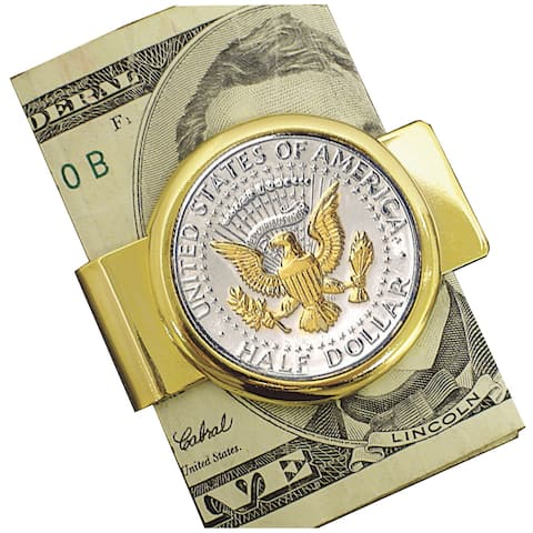 Smithsonian Institution Selectively Gold-Layered Presidential Seal JFK Half Dollar Goldtone Money Clip