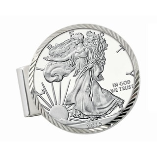 Smithsonian Institution Sterling Silver Diamond Cut Money Clip with Proof American Silver Eagle Dollar