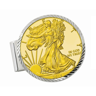 Smithsonian Institution Sterling Silver Diamond Cut Money Clip with Gold-Layered American Silver Eagle Dollar