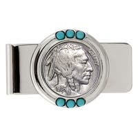 Smithsonian Institution Buffalo Nickel Turquoise Money Clip