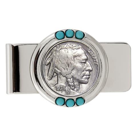 Smithsonian Institution Buffalo Nickel Turquoise Money Clip