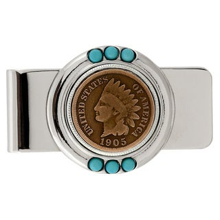 Smithsonian Institution Indian Head Penny Turquoise Money Clip