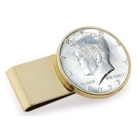 Smithsonian Institution JFK Half Dollar Stainless Steel Goldtone Money Clip