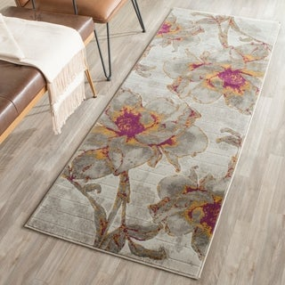 Safavieh Porcello Contemporary Floral Ivory/ Grey Runner Rug (2'4 x 11')