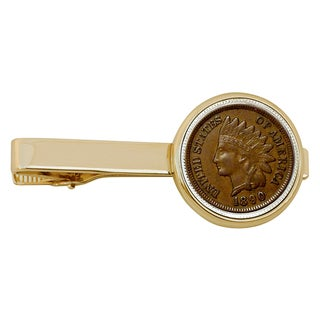 Smithsonian Institution 1800's Indian Penny Goldtone Coin Tie Clip
