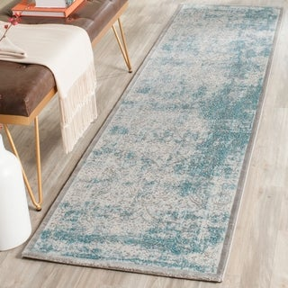 Safavieh Passion Watercolor Turquoise/ Ivory Distressed Runner Rug - 2' 2 x 14'