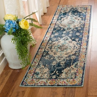 Safavieh Monaco Bohemian Medallion Navy/ Blue Distressed Runner Rug (2' 2 x 10')