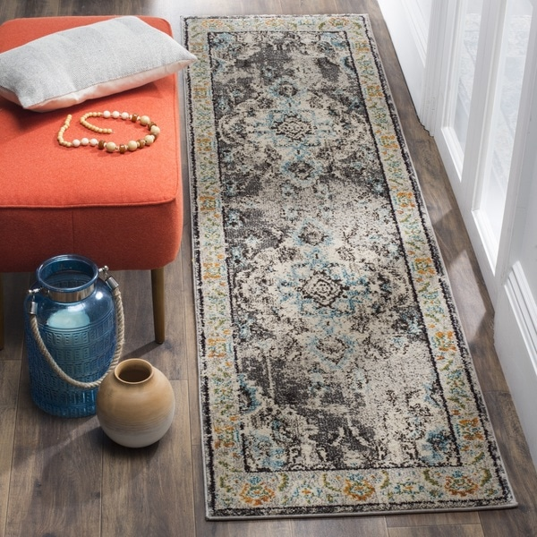 Safavieh Monaco Bohemian Medallion Grey / Blue Distressed Runner Rug - 2' 2 x 14'