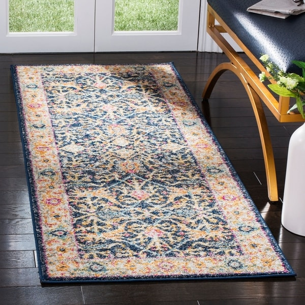 Shop Safavieh Madison Oriental Navy Cream Runner Rug 2