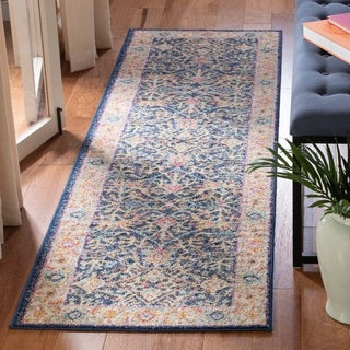 Safavieh Madison Oriental Navy/ Cream Runner Rug (2' 3 x 6')