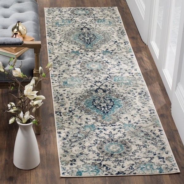 Safavieh Madison Paisley Boho Glam Cream/ Light Grey Runner Rug - 2' 3 x 14'