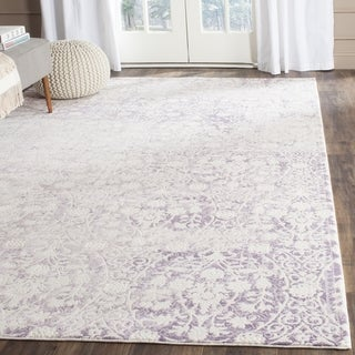 Safavieh Passion Watercolor Vintage Lavender/ Ivory Distressed Rug (6' Square)