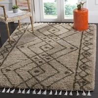 Safavieh Morrocan Fringe Shag Brown/ Grey Area Rug - 6' Square