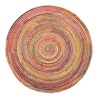 Jani Rita Natural/Multi Upcycled Cotton and Jute Round Rug (4' x 4')