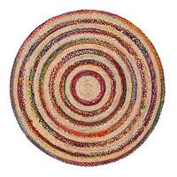 Jani Fiesta Natural/Multicolored Upcycled Cotton and Jute Round Rug (8')