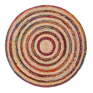 Jani Fiesta Natural/Multicolored Upcycled Cotton and Jute Round Rug