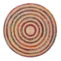 Jani Fiesta Multicolor Upcycled Cotton and Jute Rug (6' Round)