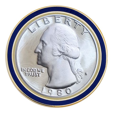 Smithsonian Institution Proof Washington Quarter (Obverse) Coin Lapel Pin