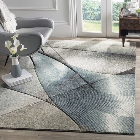 """Safavieh Hollywood Mid-Century Modern Abstract Grey / Teal Rug - 6'7"""" x 6'7"""" Square"""